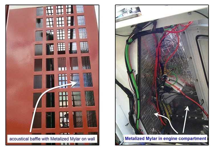 Metalized Mylar use in engine compartment and on walls example